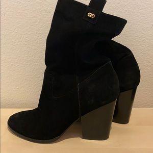 Cole Hana suede black heeled boots